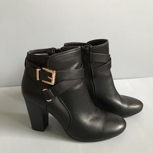 Black Heeled Boots with Gold Buckle